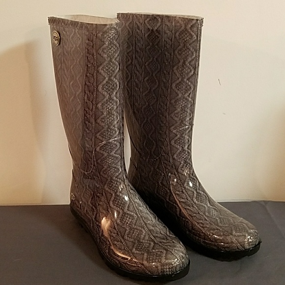 e0d36962653 NEW UGG Shaye Cable Knit Rain Boots Grey Size 8